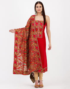 Red Art Chiffon Suit Set
