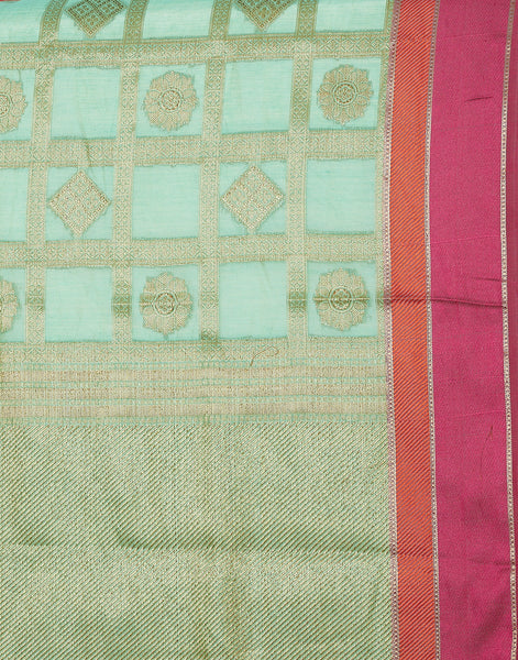 Green Cotton Woven Saree