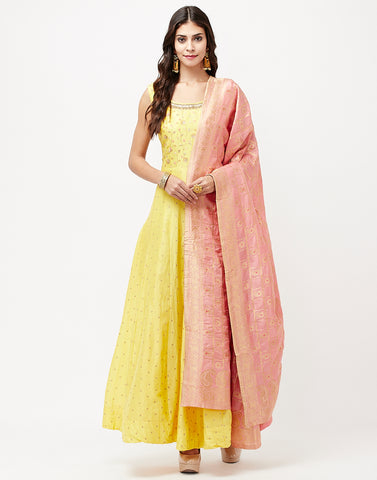 Yellow Pink Cotton Salwar Kameez