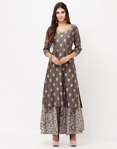 Grey Cotton Chanderi Kurti with Palazzo