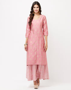 Dusty Pink Cotton Chanderi Kurti with Skirt