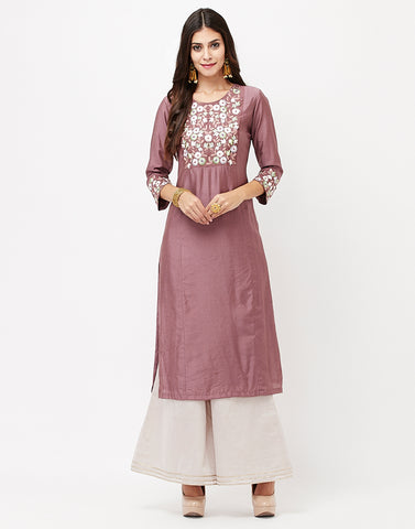 Wine Cotton Chanderi Kurti