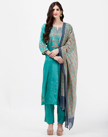 Sea Green Tusser Salwar Kameez