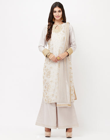 Mouse Cotton Chanderi Salwar Kameez