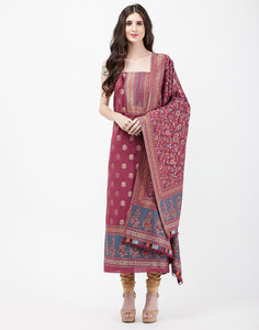 Wine Art Handloom Suit Set