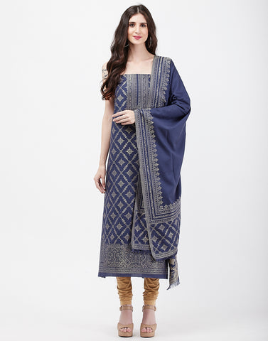 Navy Blue Art Handloom Suit Set