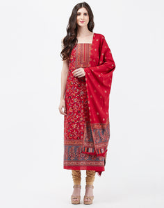 Red Cotton Spun Suit Set