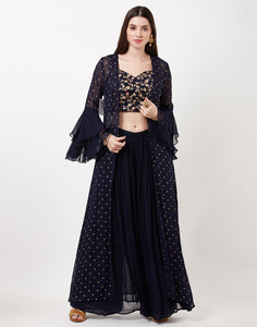 Navy Blue Salwar Kameez with Srug