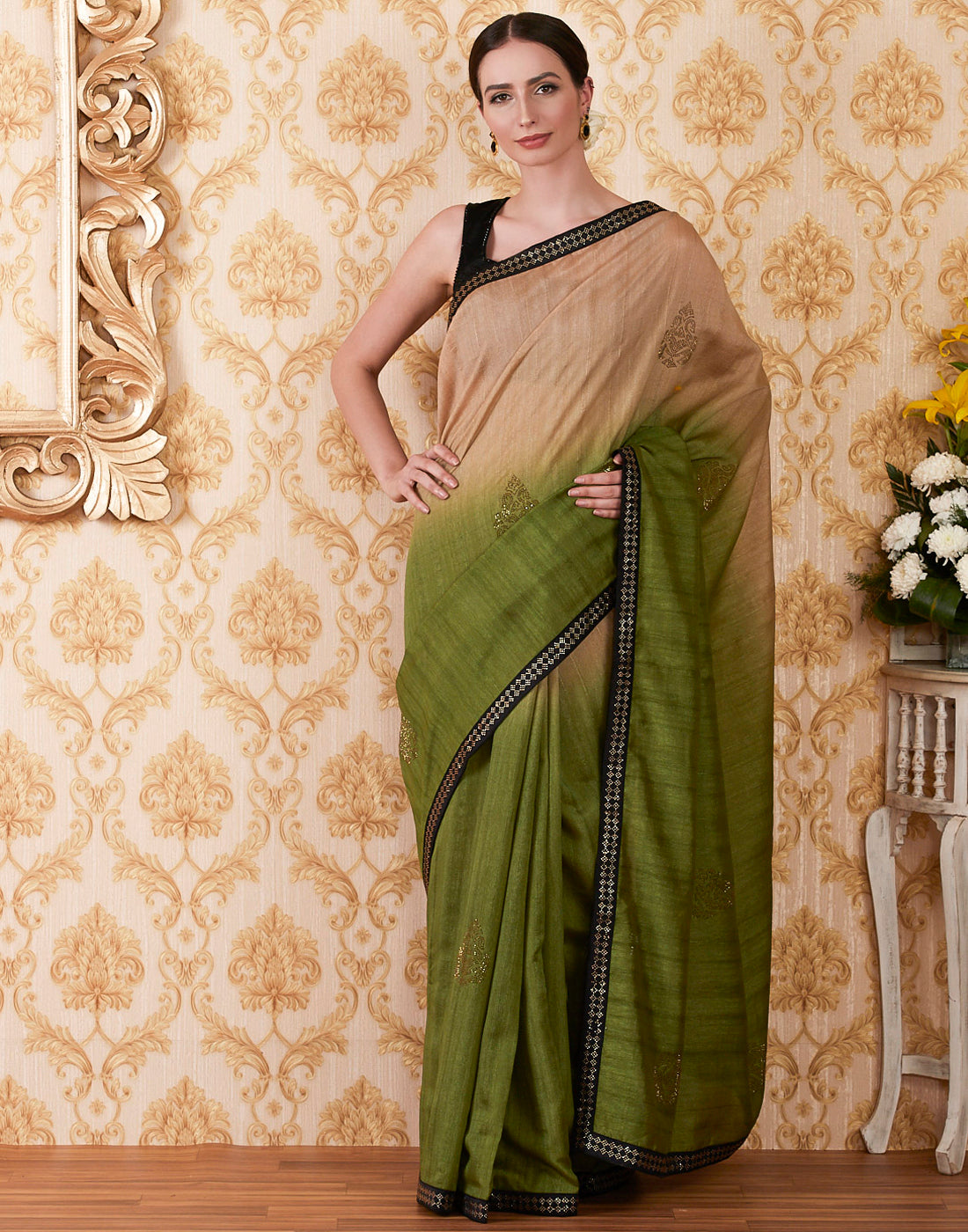Mehndi Beige Art Tusser Embroidered Saree