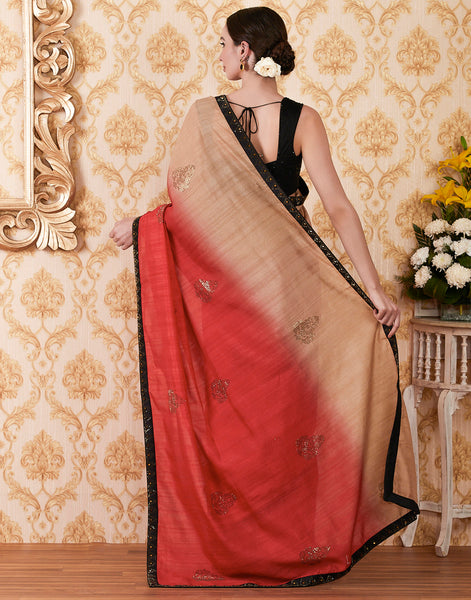 Red Beige Art Tusser Embroidered Saree