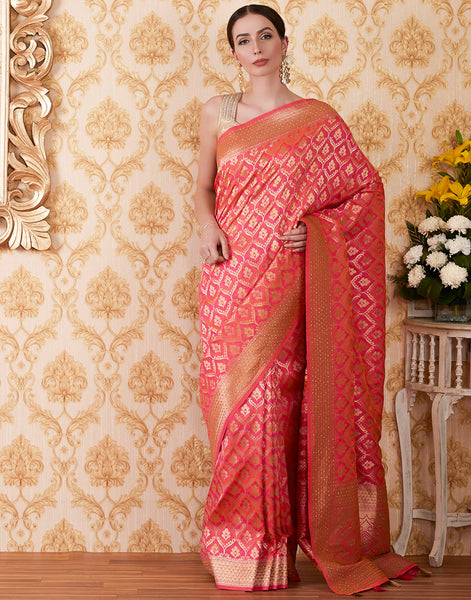 Rani Banarasi Embroidered Woven Saree