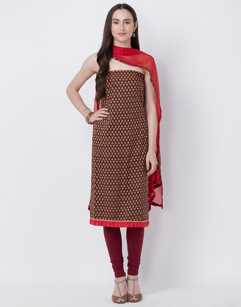 Brown Maroon Cotton Suit Set