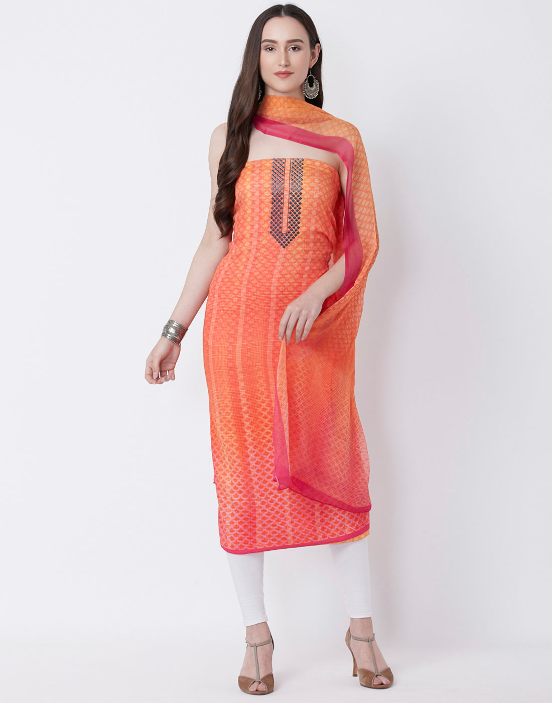 Orange Cotton Suit Set