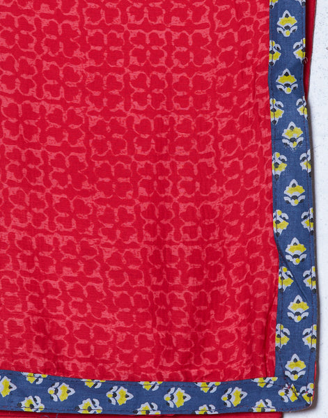 Navy Blue Maroon Cotton Chanderi Suit Set