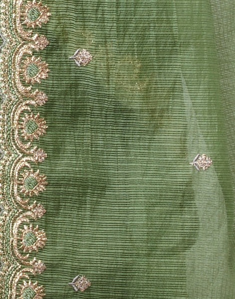 Brown Green Cotton Chanderi Suit Set
