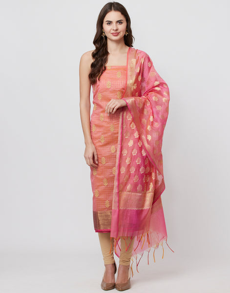 Pink Beige Cotton Chanderi Suit Set