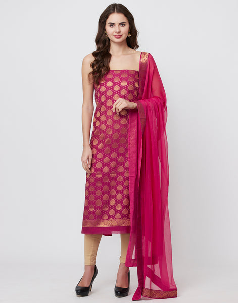 Wine Rani Cotton Chanderi Suit Set