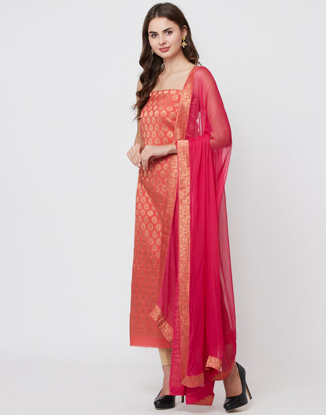 Peach Pink Rani Cotton Chanderi Suit Set