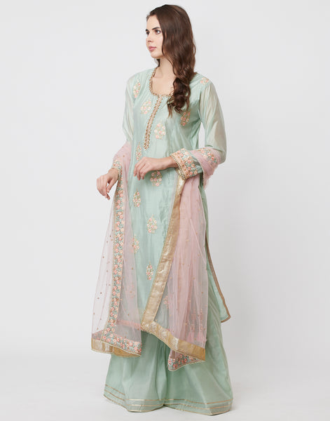 Sea Green Pink Cotton Chanderi Salwar Kameez