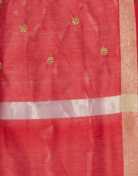 Maroon Cotton Chanderi Suit Set