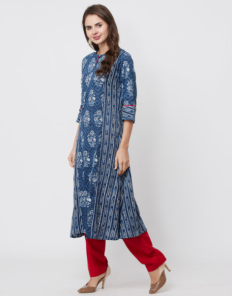 Navy Blue Red Cotton Kurti with Palazzo