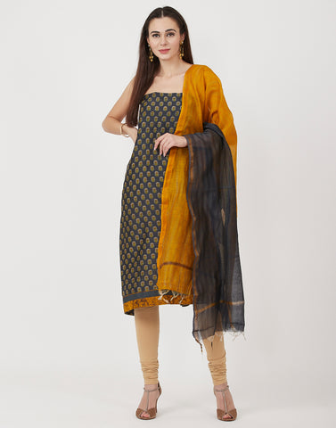 Grey Mustard Cotton Chanderi Suit Set
