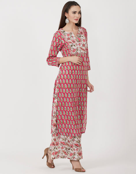 Rani Cream Cotton Kurti with Palazzo