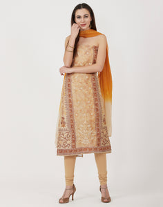 Beige Mustard Cotton Chanderi Suit Set
