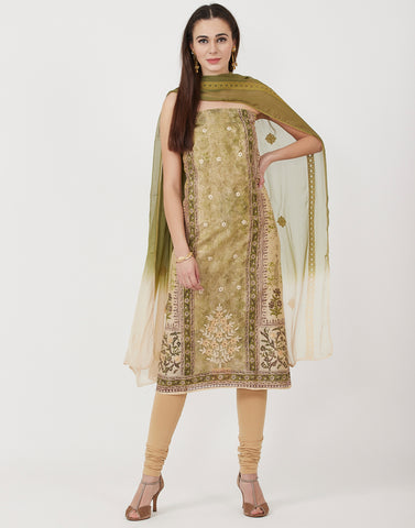 Beige Mehndi Cotton Chanderi Suit Set