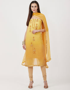 Yellow Mustard Cotton Chanderi Suit Set
