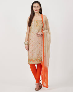 Beige Orange Cotton Chanderi Suit Set
