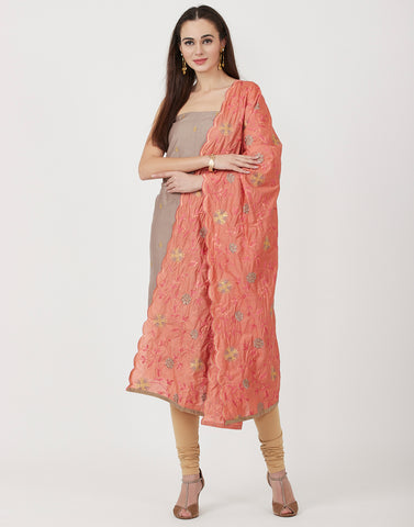Brown Peach Cotton Chanderi Suit Set