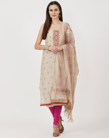 Beige Pink Cotton Chanderi Suit Set