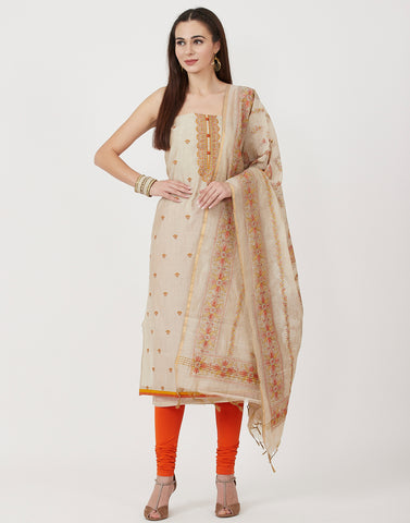 Beige Rust Cotton Chanderi Suit Set