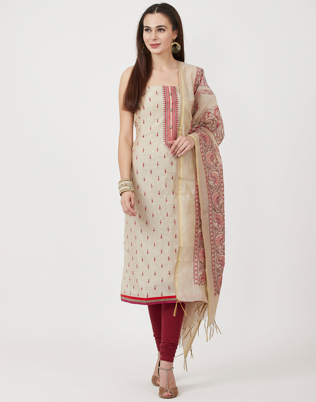 Beige Rani Cotton Chanderi Suit Set