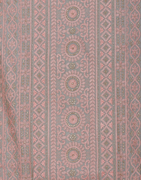 Grey Pink Cotton Chanderi Suit Set