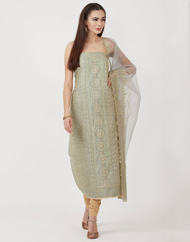 Grey Green Cotton Chanderi Suit Set