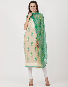 Beige Green Cotton Chanderi Suit Set