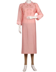 Pink Cotton Chanderi Kurti