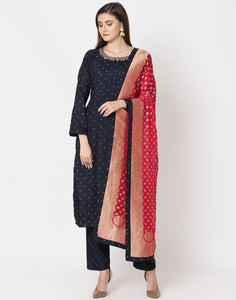 Navy Blue Rani Cotton Salwar Kameez