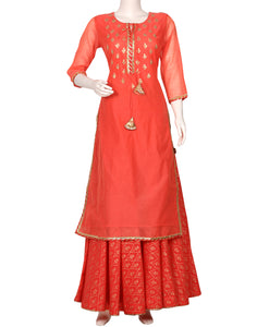 Peach Cotton Chanderi Kurti with Skirt