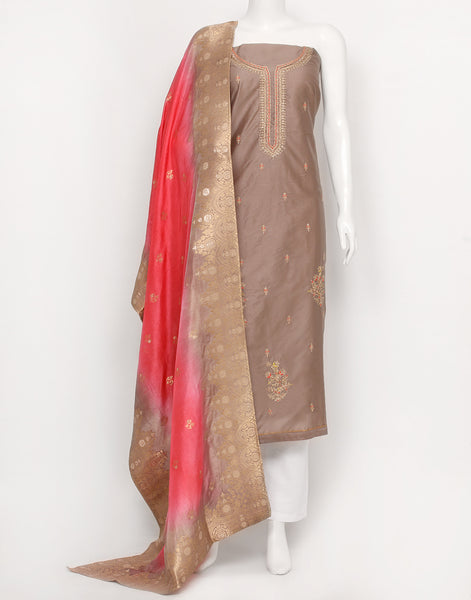 Brown Cotton Chanderi Suit Set