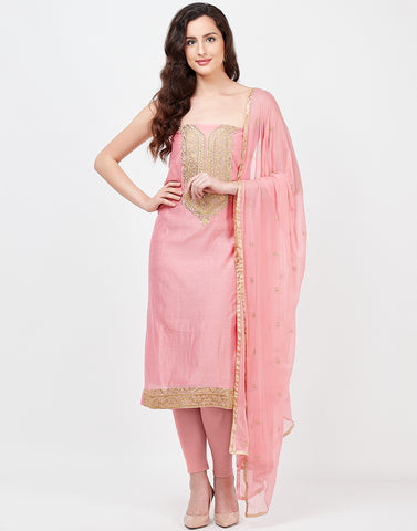 Pink Chanderi Suit Set