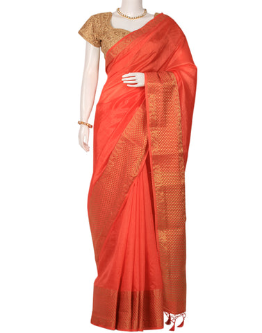 Peach Art Handloom Woven Printed Saree