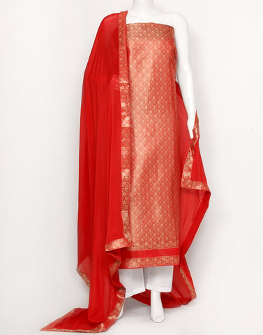 Red Cotton Chanderi Suit Set