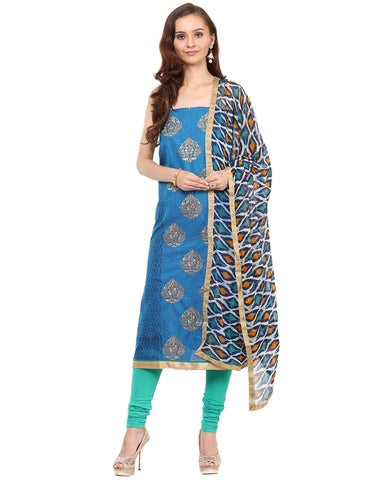 Unstitched Cotton Chanderi Suit With Embroidered Bootis By Meena Bazaar