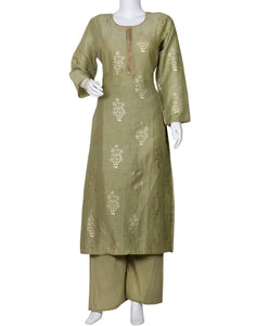 Pista Green Cotton Kurti with Palazzo