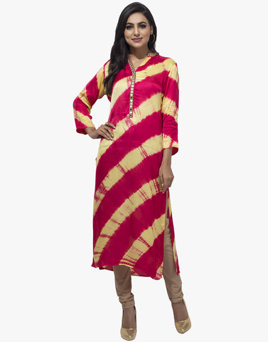 Leheria Cotton Kurti with Mirror Work By Meena Bazaar
