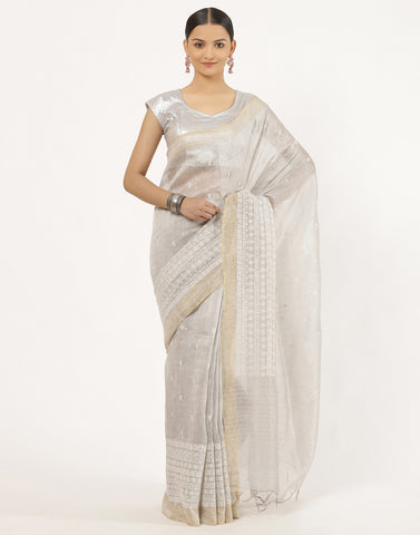Cotton Linen Saree With Thread Work