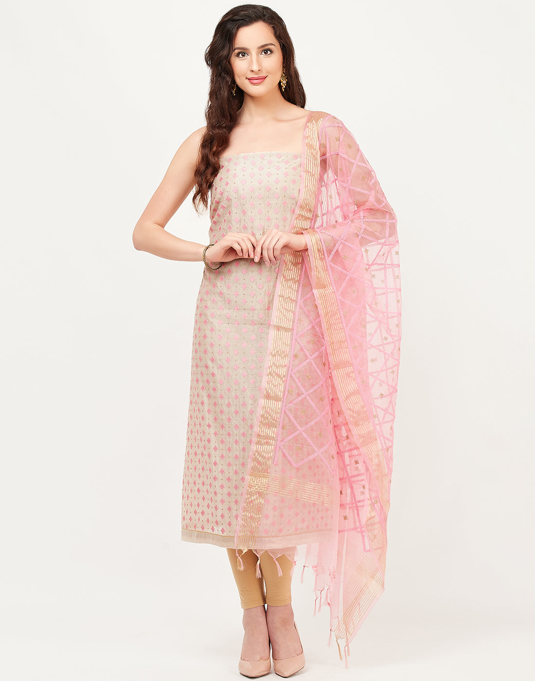 Beige Pink Chanderi Suit Set